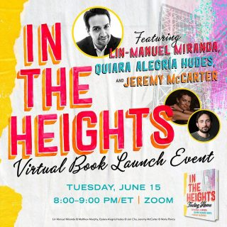 It's almost here 🤩 #InTheHeights is coming this week, but next week you could be there for the #InTheHeightsBookLaunch with Lin-Manuel Miranda, Quiara Alegría Hudes, and Jeremy McCarter 🥳 Get your preorders in so you don't miss a thing 🤗