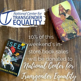 10% of all in-store book sales this weekend (Sat & Sun) will be donated to @transequalitynow 🏳️⚧️🌈 (And if you want #LGBTQ+ book recommendations, our booksellers are always ready 📚)