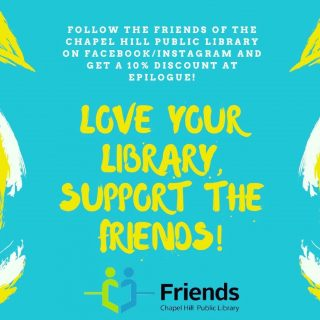 Do you #loveyourlibrary as much as we do? You do?!?! Let's celebrate our mutual love for our amazing friends! Come over this Friday May 14th and show us that you are following @friendschpl. You will get 10% off your cafe order(excluding alcohol). FUN FACT: For just $10 students can become members. #localsupportinglocal #chapelhill #carrboro #chapelboro