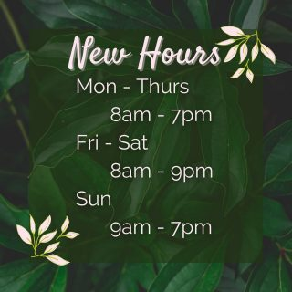 Did you know we have new hours? You can see us any day until 7pm now! (And even later on Fridays and Saturdays 🤗)