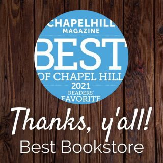 We're so honored to serve our community and that y'all selected us as Best Bookstore this year 🤗 We will continue to work to be your favorite #IndieBookstore and #cafe in the heart of #ChapelHill for years to come 😌 We love you, Chapelboro 💕