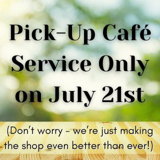 Hey y'all! Just a heads-up that we will be doing pick-up café service ONLY tomorrow while we make a few exciting changes in Epilogue 🤗 We can't wait until you see the shop on Thursday! 📚