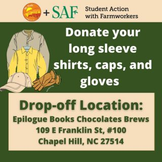 We're hosting a #LongSleeveDrive for @mipueblounc and @studentactionwithfarmworkers 🧑‍🌾 We have a box near the front of our shop where you can drop your donations until March 31st 🤗 #NationalFarmworkerAwarenessWeek